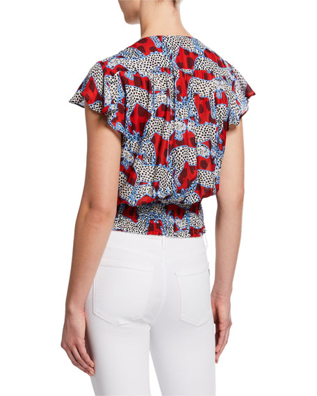 Parker Dearie Animal-Print V-Neck Short-Sleeve Blouse