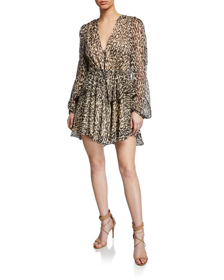 Shona Joy Mariposa Leopard-Print Long-Sleeve Drawstring Peplum Mini Dress