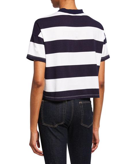 AG Drew Striped Crewneck Short-Sleeve Cropped Tee
