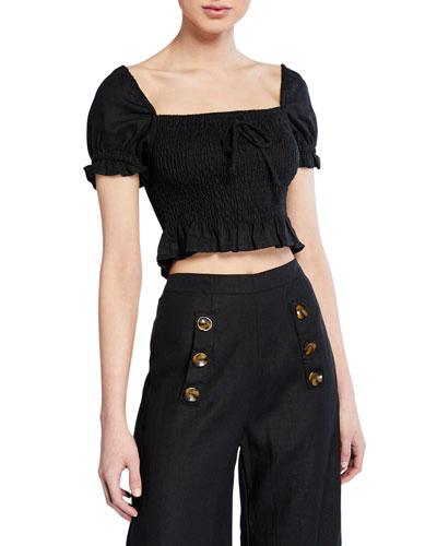 Marie Smocked Short-Sleeve Linen Crop Top
