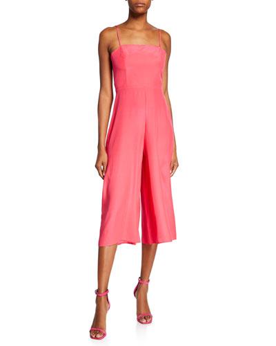 Izzy Spaghetti-Strap Wide-Leg Cropped Silk Jumpsuit