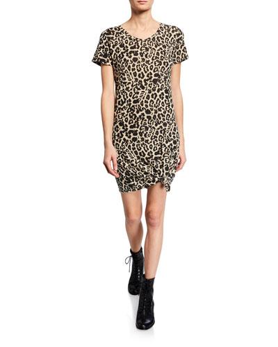 Holly Leopard-Print Short-Sleeve Dress
