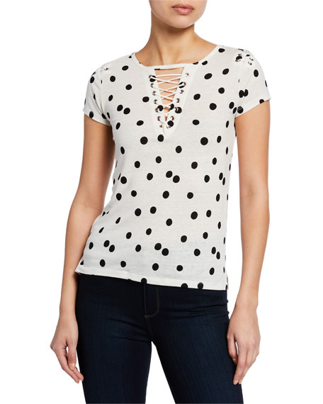 Generation Love Hugo Polka-Dot Short-Sleeve Lace-Up Top