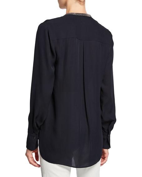 Elie Tahari Emara V-Neck Long-Sleeve Blouse w/ Beaded Trim