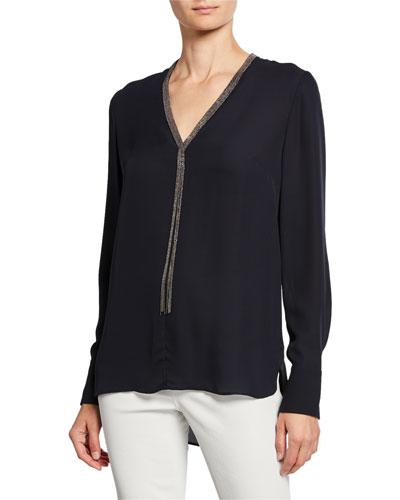 Emara V-Neck Long-Sleeve Blouse w/ Beaded Trim