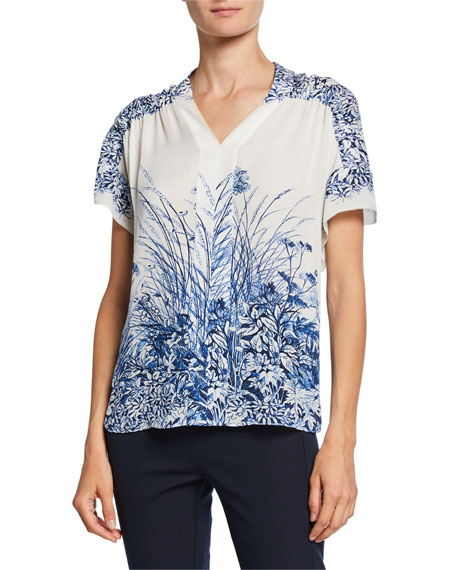 Elie Tahari Tiffany Floral-Print V-Neck Short-Sleeve Silk Blouse