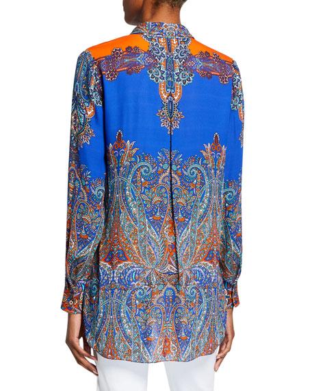 Elie Tahari Martha Printed Long-Sleeve Button-Down Blouse