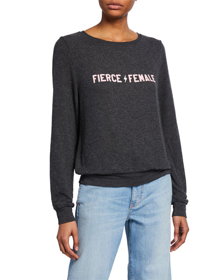 WILDFOX Fierce Female Long-Sleeve Stretch-Knit Sweatshirt