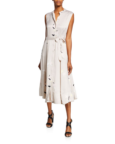 Equipment Clevete Button-Front Sleeveless Midi Silk Dress