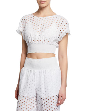 5e31250382 Kisuii Zoie Eyelet-Embroidered Coverup Crop Top