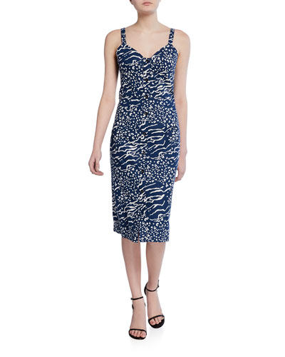 Antonia Leopard & Zebra-Print Sweetheart Sleeveless Dress