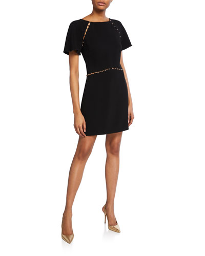 Nina Studded Short-Sleeve Dress