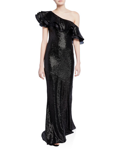 Jaz One-Shoulder Ruffled Sequin Gown