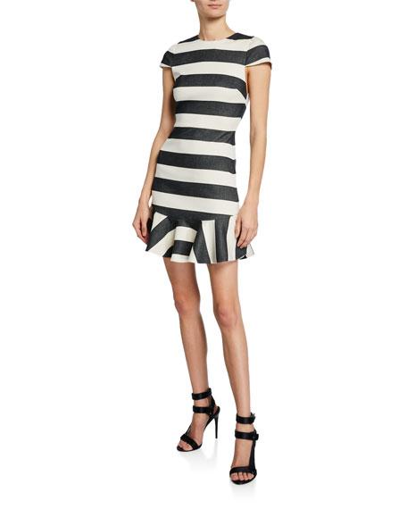 Alice + Olivia Fantine Striped Cap-Sleeve Ruffle Dress