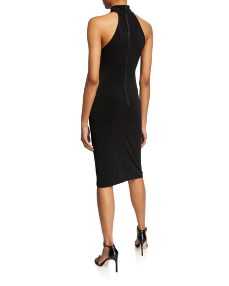 Alice + Olivia Jensen Fitted High-Neck Dress