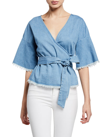 Cupcakes and Cashmere Petunia Chambray Blouse w/ Fraying
