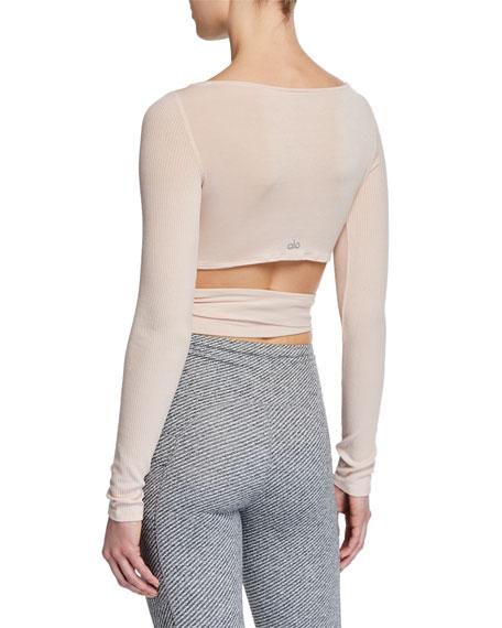 Alo Yoga Barre Long-Sleeve Tie-Waist Crop Top