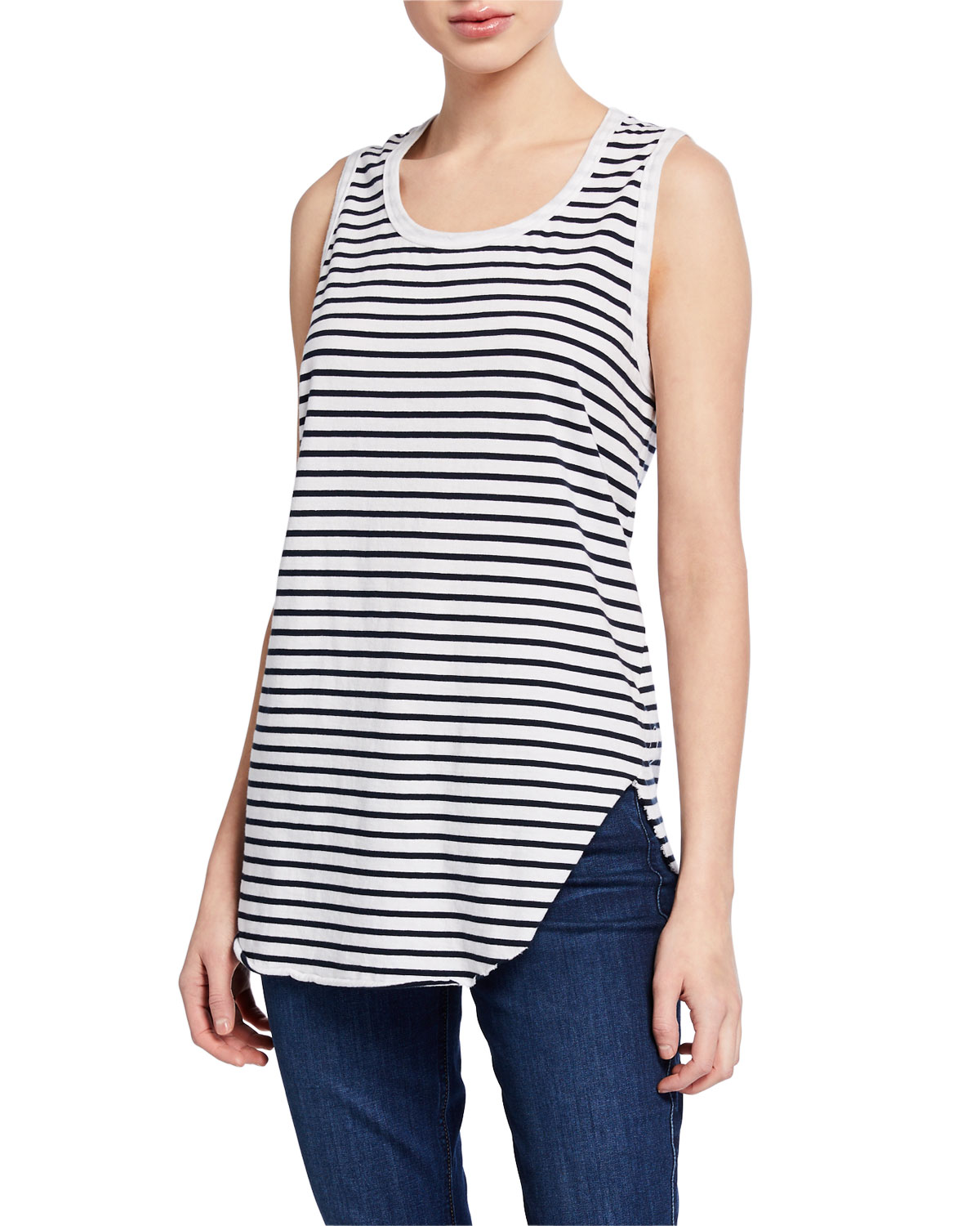 Frank & Eileen Tee Lab Striped Scoop-Neck Relaxed Asymmetric Tank