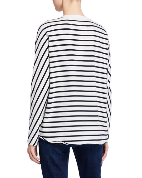 Frank & Eileen Tee Lab Striped Oversized Continuous-Sleeve Sweatshirt