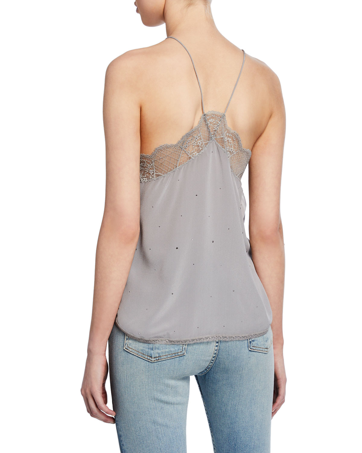 1edd83cb1bf Zadig & Voltaire Christy Strass Sleeveless Blouse with Lace Trim | Neiman  Marcus
