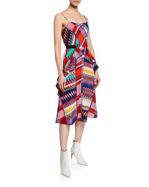 c78715953d Diane von Furstenberg Josie Printed Ruffle Silk Midi Dress