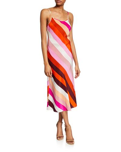 Lea Striped Silk Slip Dress