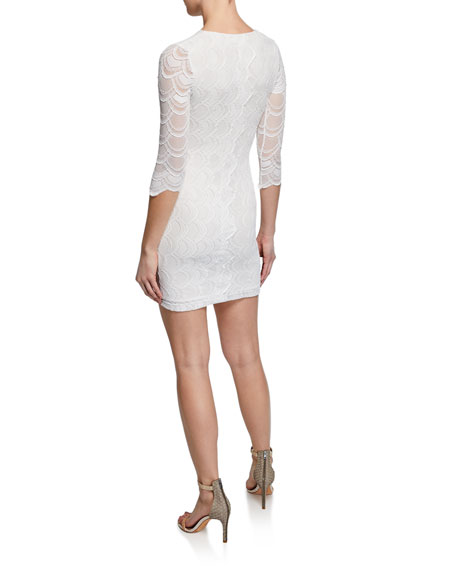 Nightcap Clothing Victorian V-Neck 3/4-Sleeve Lace Mini Dress