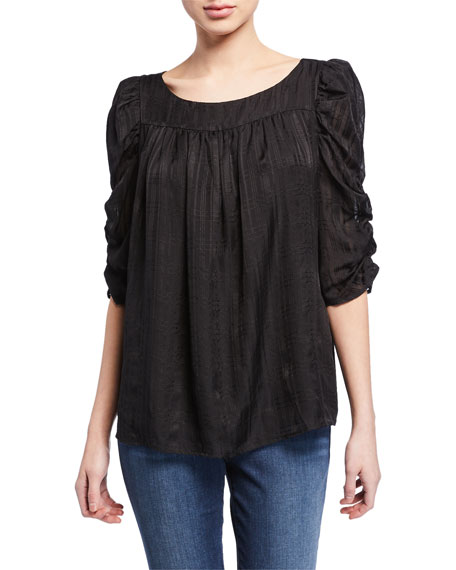 FRAME Kate Half-Sleeve Shirred Top
