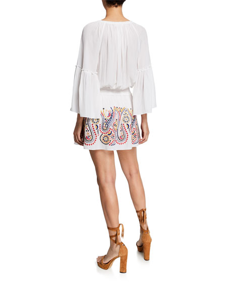 Ramy Brook Graham Embroidered 3/4-Sleeve Dress