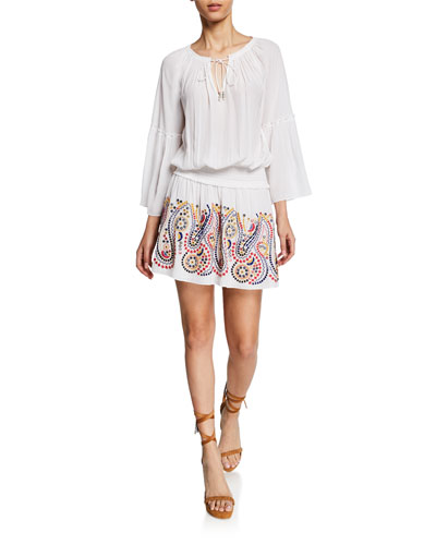 Graham Embroidered 3/4-Sleeve Dress