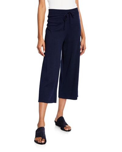 Cropped Wide-Leg Drawstring Pants