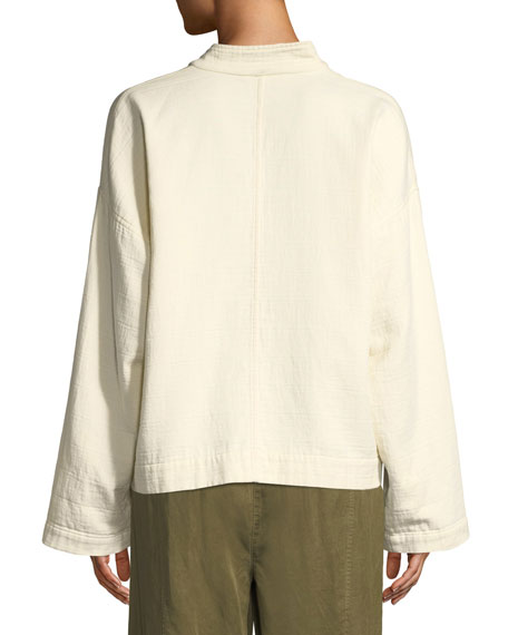 Eileen Fisher Mandarin Collar Snap-Front Channel Jacket