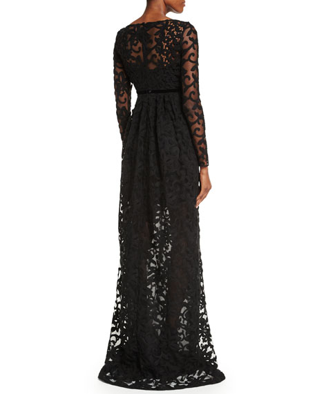 Burberry Long-Sleeve Macrame Gown, Black