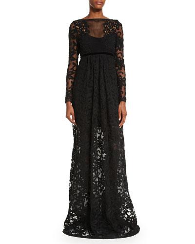 Long-Sleeve Macrame Gown  Black