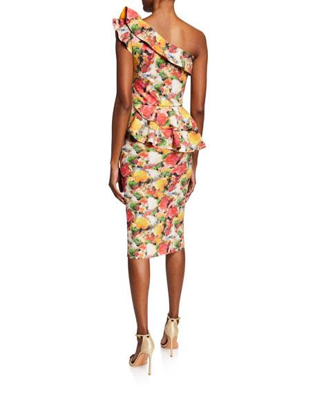 Chiara Boni La Petite Robe Printed Ruffled One-Shoulder Asymmetric Peplum Dress