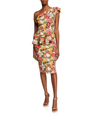 fcc698a8d66c0 Chiara Boni La Petite Robe Printed Ruffled One-Shoulder Asymmetric Peplum  Dress