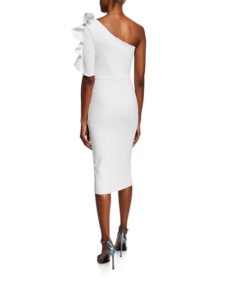 Chiara Boni La Petite Robe One-Shoulder Asymmetric Cocktail Dress with Ruffle Trim