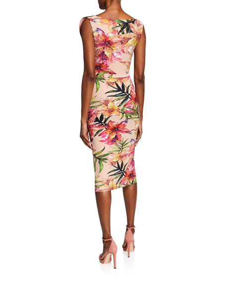 Chiara Boni La Petite Robe Floral-Print V-Neck Sleeveless Asymmetric Ruffle Dress