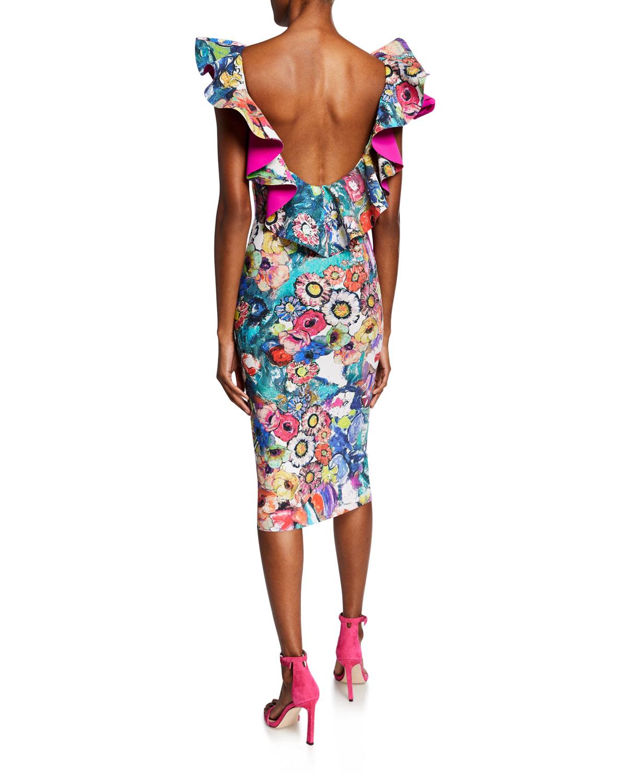 fournir beaucoup de nouveaux produits chauds toujours populaire Floral-Print Ruffle-Trim U-Back Cocktail Dress