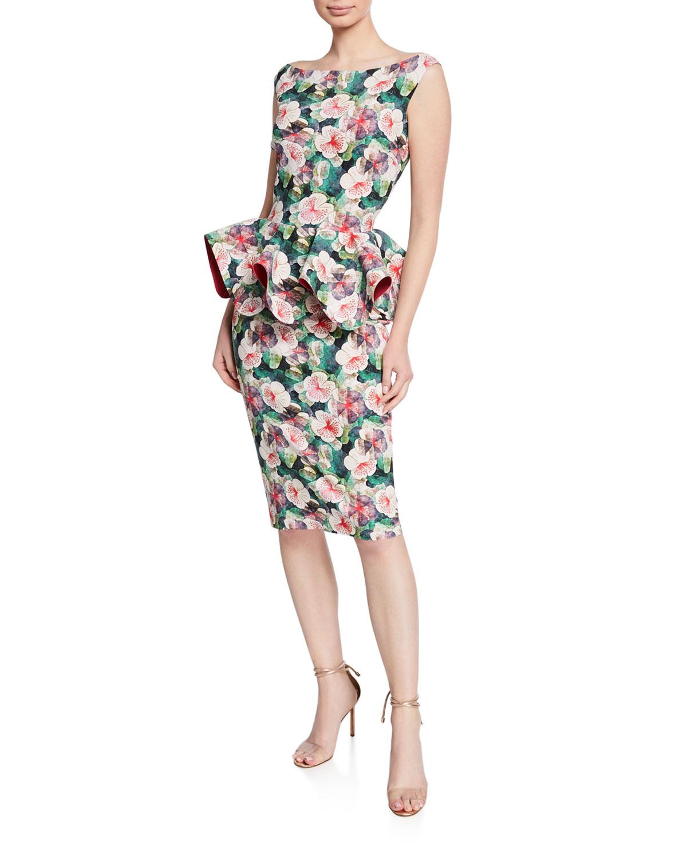 df421aa83908f Chiara Boni La Petite RobeFloral-Print Bateau-Neck Sleeveless Peplum Dress