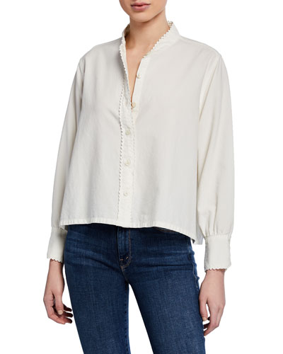 The School House Button-Up Top w/ Rickrack Trim