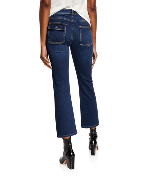Current/Elliott The Cropped Boot Patch-Pocket Jeans