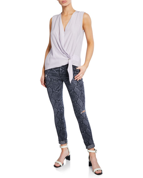 Image 3 of 3: Rag & Bone Cate Mid-Rise Ankle Skinny Snake-Print Jeans