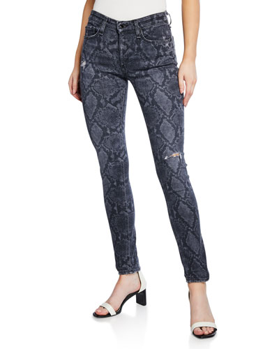 Cate Mid-Rise Ankle Skinny Snake-Print Jeans