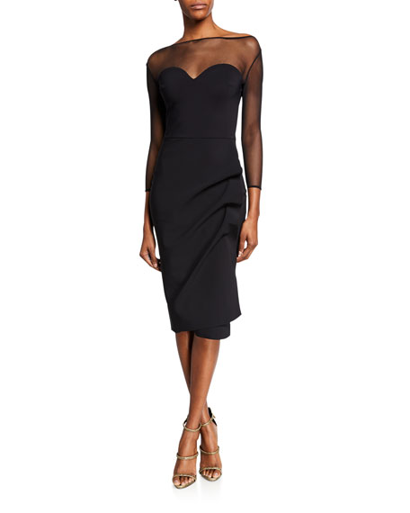 Chiara Boni La Petite Robe Sweetheart Illusion 3/4-Sleeve Dress with Side-Shirred Skirt