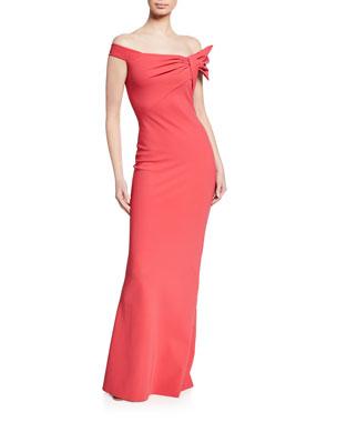 07ab6a1486 Chiara Boni La Petite Robe Off-the-Shoulder Short-Sleeve Column Gown w