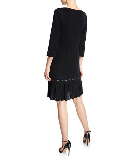 Misook Scoop-Neck 3/4-Sleeve Grommet Trim & Pleated Hem Dress