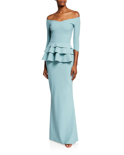 Off-Shoulder 3/4-Sleeve Triple Peplum Gown