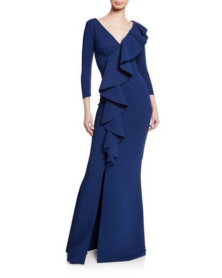 Chiara Boni La Petite Robe Janka V-Neck 3/4-Sleeve Asymmetric Ruffle Mermaid Gown w/ Slit