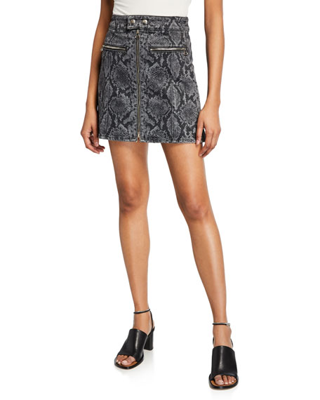 Rag & Bone Isabel High-rise Snake-print Mini Skirt In Grey Snake